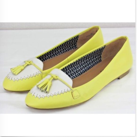 0f9db75dccd Talbots Yellow and White Tassel Flat Loafer